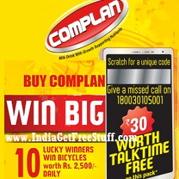 Complan Free Talktime Offer Rs.30 Recharge Win Bicycle Contest