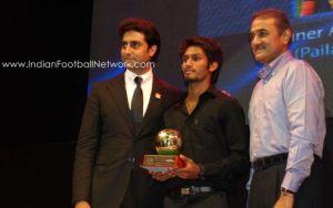 Alwyn George with Abhishek Bachchan and Prafull Patel