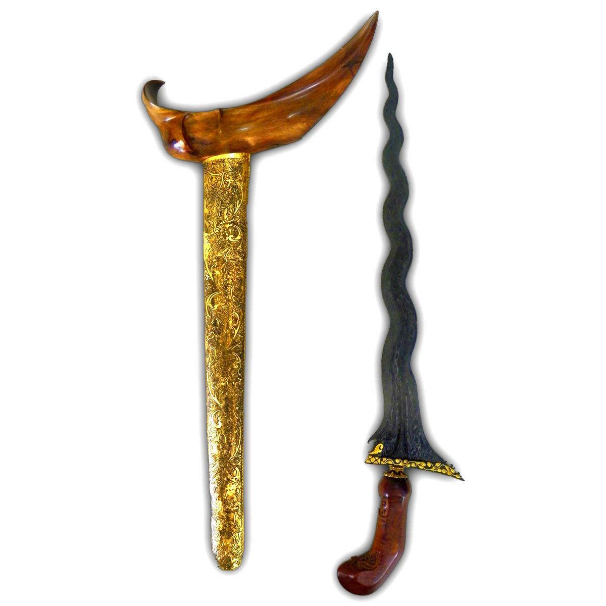 keris sengkelat mataram sultan agung with gold plated kinatah ancient brass sheath and teak wooden hilt indo magic