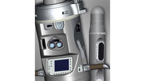 Konsol lensa pembidik dan lensa pada bagian luar.