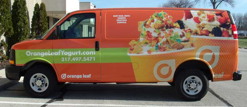 Orange Leaf full van wrap, van full wrap