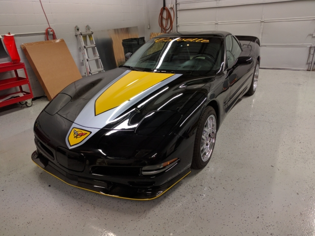 corvette wrap, special vehicle wraps, high end vehicle wrap, car wrap, black yellow corvette wraps