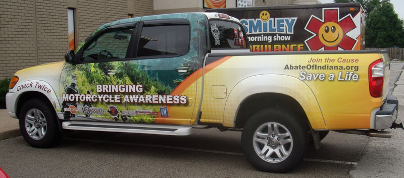 truck graphics, motorcycle awareness truck, full vehicle wrap,