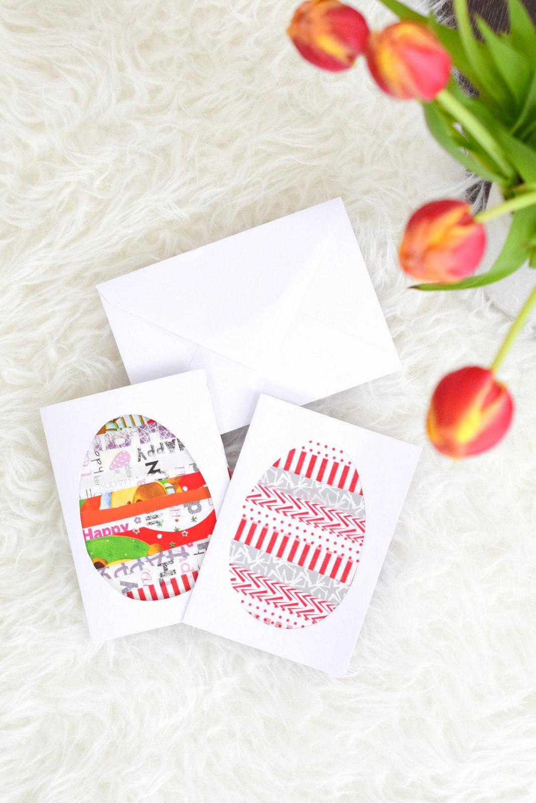 Osterkarten selber machen. Einfache Bastelidee auch für Kinder als Ostergeschenk und Osterdeko.