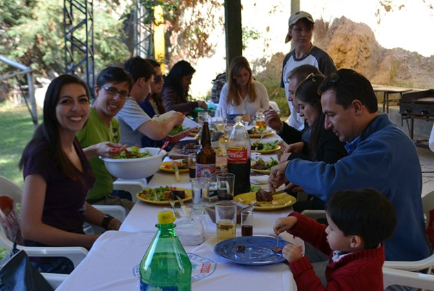 Enjoying a delicious barbecue lunch jointly prepared by the whole team, Mallasa, June 2015.