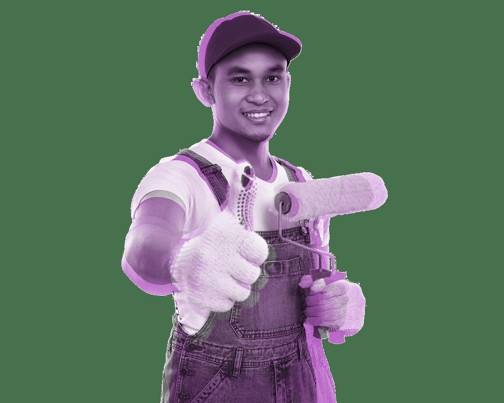 Headerbild Arbeitsvermittlung - Jugendlicher mit Malerrolle