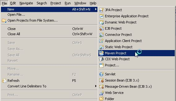 menú File -> New -> Maven Project