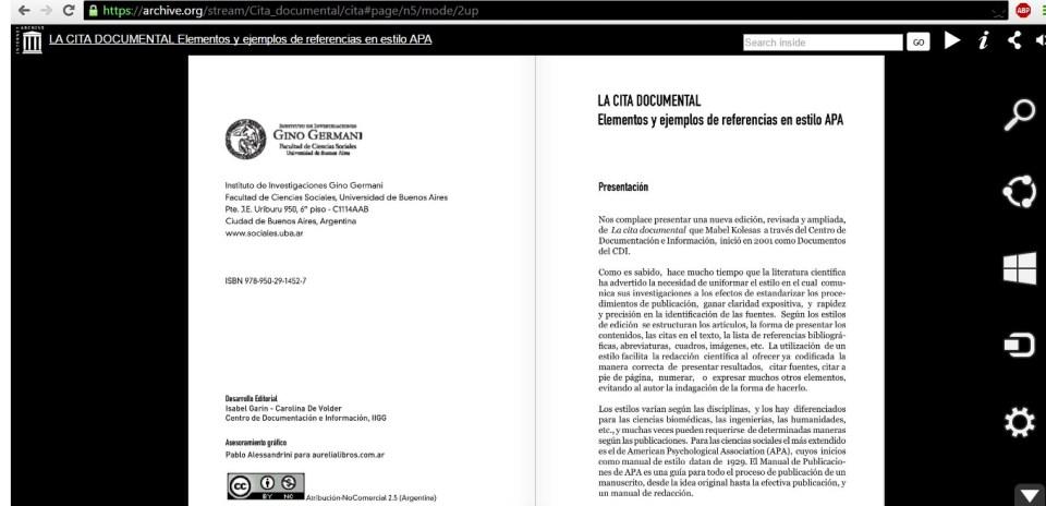 La cita documental en Internet Archive