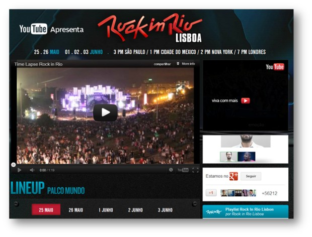 Rock in Rio Lisboa no YouTube