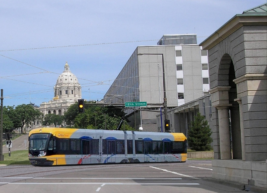 Central Corridor Light Rail: This image shows how the Central Corridor LRT trains will turn from 12th Street onto Cedar Street and head south toward downtown St. Paul. The Minnesota Capitol is in the background.