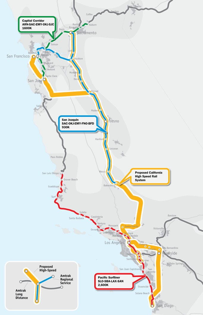 Existing and Proposed Rail Service in California
