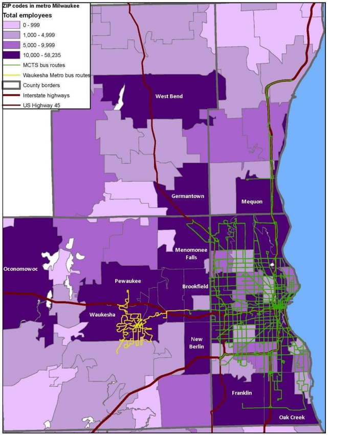 Figure 1: Job centers and public transit services in the Milwaukee metro area