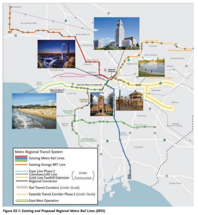 Figure ES-1: Existing and Proposed Regional Metro Rail Lines (2035)