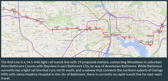 The Red Line is a 14.1-mile light rail transit line with 19 proposed stations, connecting Woodlawn in suburban West Baltimore County with Bayview in east Baltimore City, by way of downtown Baltimore.