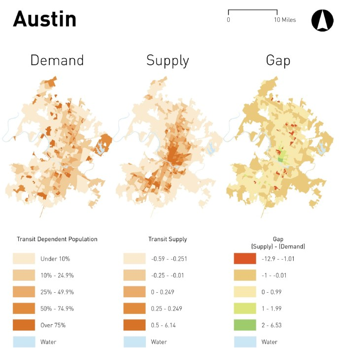 Figure 1: Transit Deserts Analysis in Austin, Texas