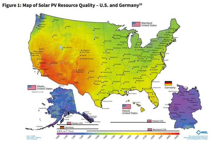 Figure 1: Map of Solar PV Resource Quality – U.S. and Germany20