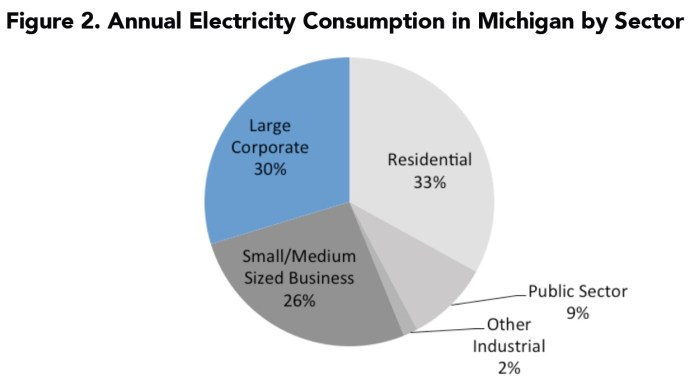 Figure 2. Annual Electricity Consumption in Michigan by Sector