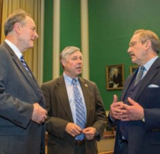 Chairman Fred Upton (center) meets with ACEC President Dave Raymond (left) and ACEC Chairman Ralph Christie (right) in the House Energy and Commerce Committee Room.