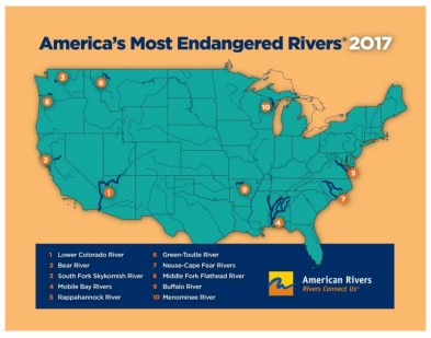 America's Most Endangered Rivers Map