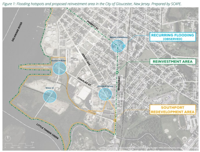Figure 1: Flooding hotspots and proposed reinvestment area in the City of Gloucester, New Jersey. Prepared by SCAPE.