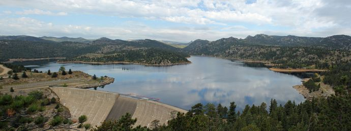 Gross Reservoir in Boulder County, Colorado. The reservoir is owned by Denver Water. Photo by Jeffrey Beall