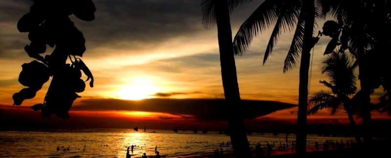Boracay, filippinerne, strand, solnedgang, backpacking