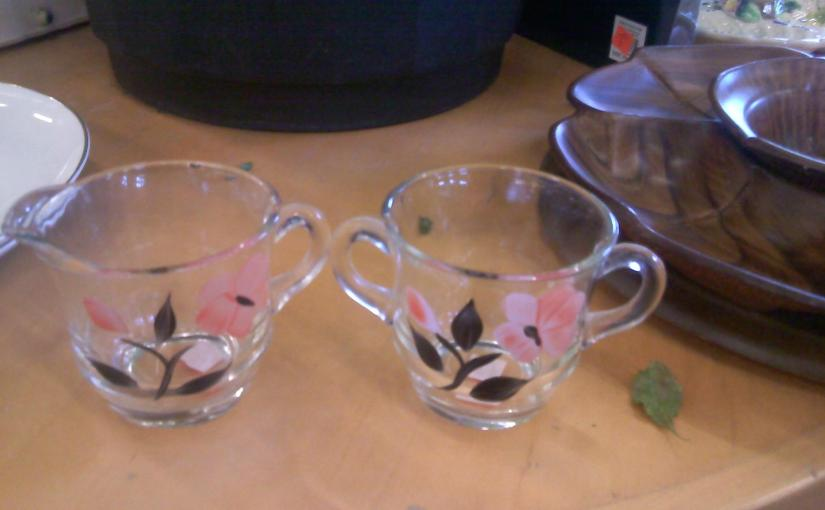 vintage glassware pink and black floral painting