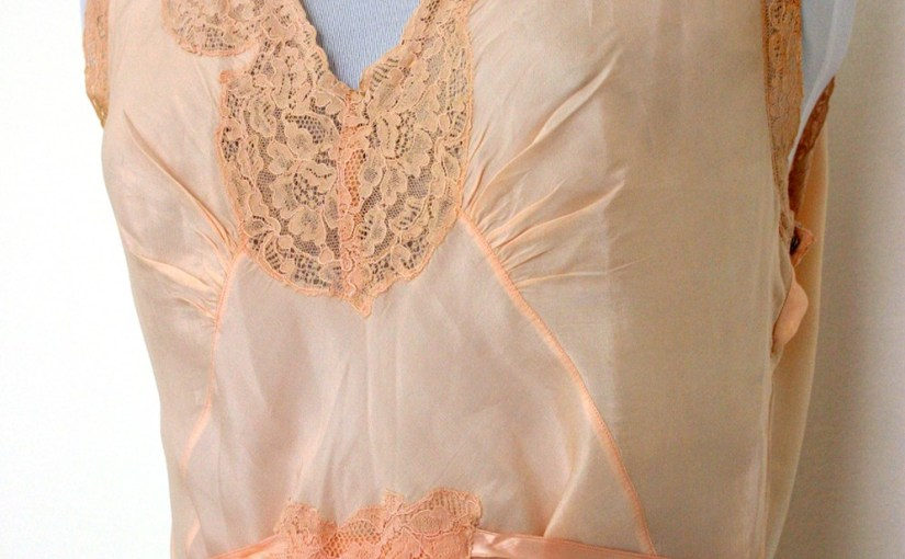 theda bara etsy 1920s Silk Full Slip Dress Peach Flapper Tea Length Vintage Lingerie
