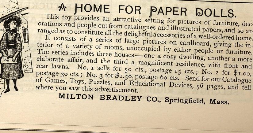 1891 cardboard milton bradley dollhouse ad