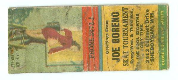vintage joe gorenc skat tournament pinup matchbook