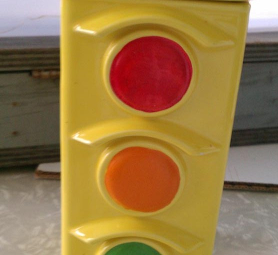 vintage mccoy pottery traffic light cookie jar