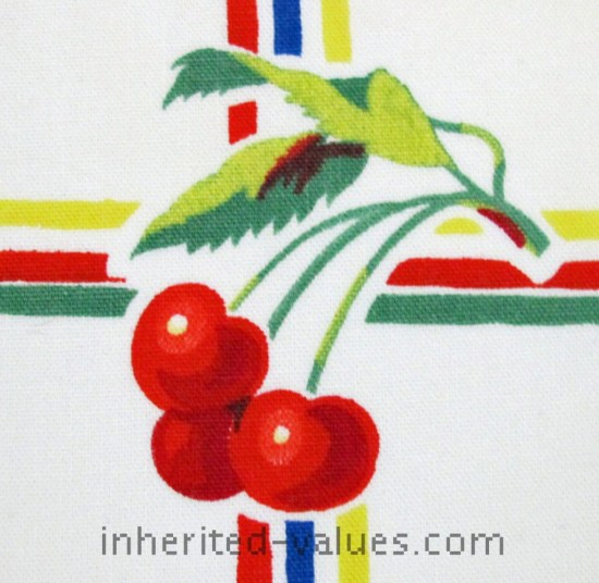 Vintage WILENDUR Bright FRUIT & FLORAL Grid Tablecloth cherries