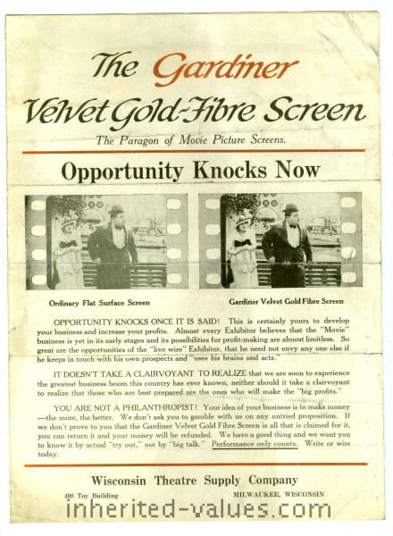 Gardiner Velvet Gold-Fibre Screen Wisconsin Theatre Supply Company Advertising