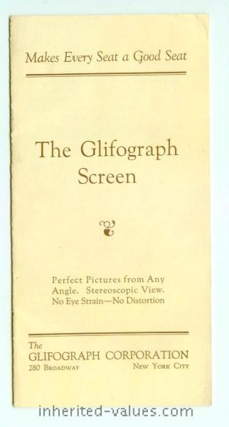Glifograph Movie Screen Brochure Stereoscope