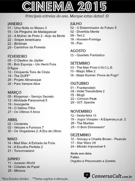 Lista dos Lançamentos do Cinema para 2015 | Iniciativa Nerd