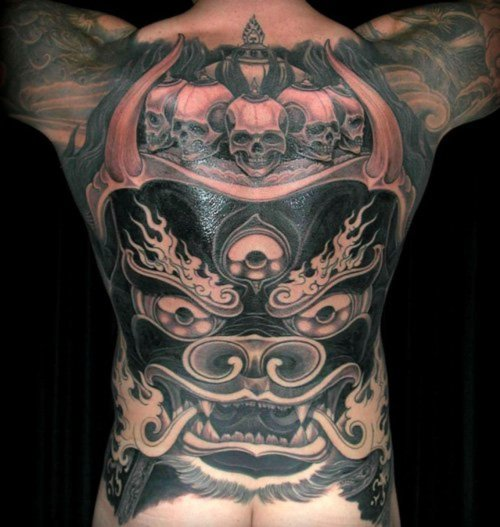 Filip-Leu-Black-and-Grey-Dragon-and-Skulls-Back-Piece
