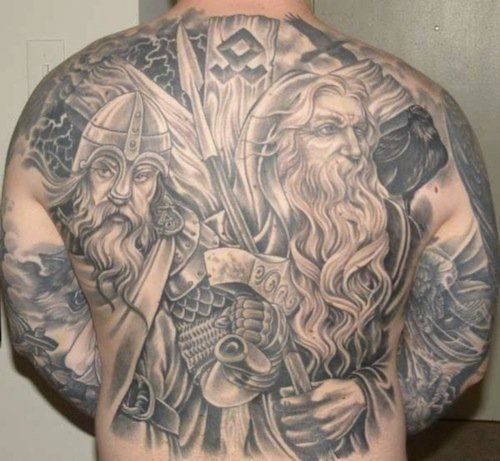 odin and thor back tattoo