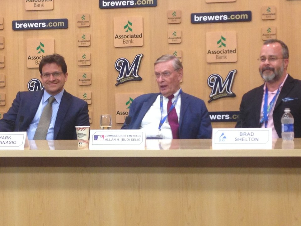 Brewers Owner Mark Attanasio, Bud Selig and BRC's BRad Shelton