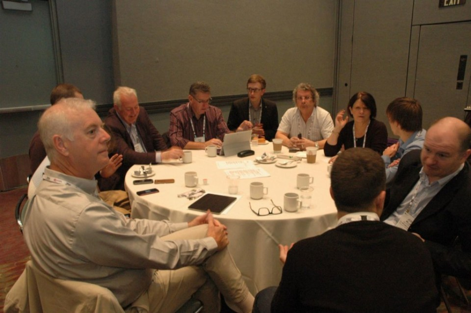 David Willrich of DJ Willrich Ltd, left foreground, at 2014 TEA Members Meeting with other European members of the Association.  Willrich has served two years as EME Division President and is now stepping up to the TEA International Board of Directors.