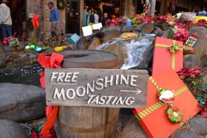A Free Moonshine Tasting sign at the Ole Smoky Distillery on the Gatlinburg Strip.