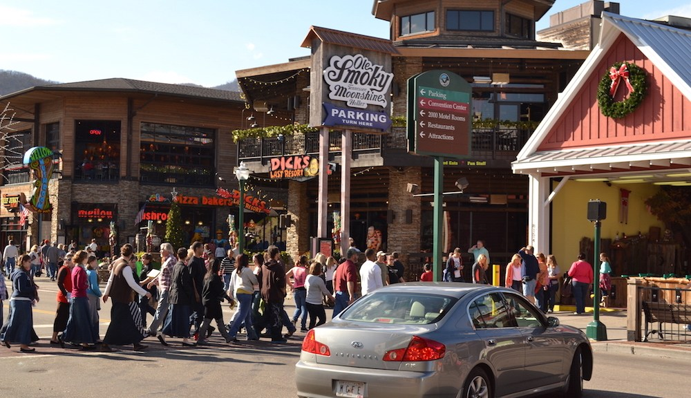 Photo of lots of people on the Gatlinburg Strip.
