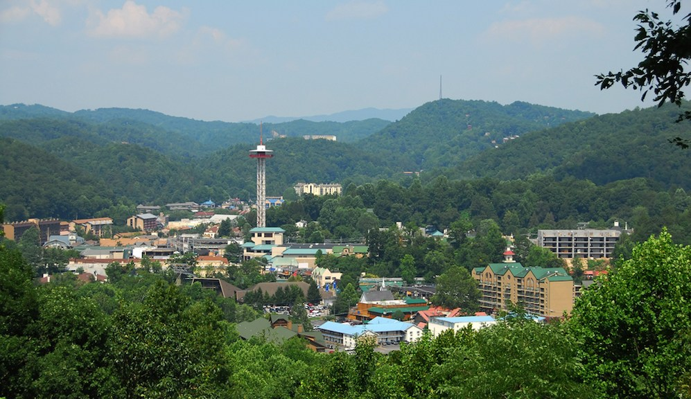 Scenic photo of the city of Gatlinburg taken from the Gatlinburg Sky Lift.