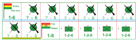Ethiopian forces: Ras Imru's levies (light blue), the Negus and the Zebur Kebagna, the only western-style units in the Ethiopian army (note that these are playtest counters).