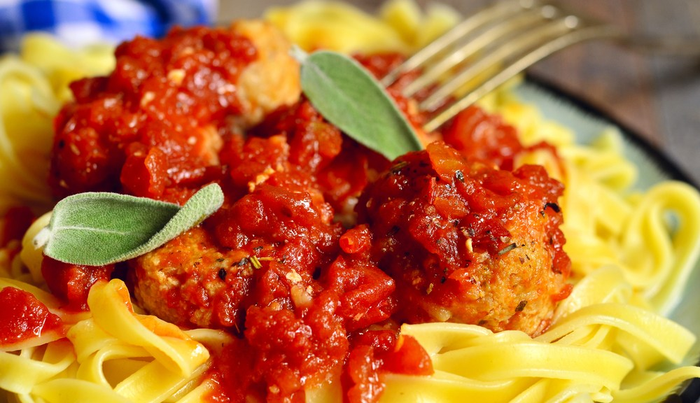 Spaghetti and meatballs meal