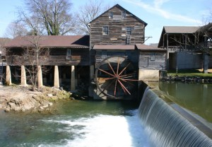 A photo showing the back of the Pigeon Forge Mill.