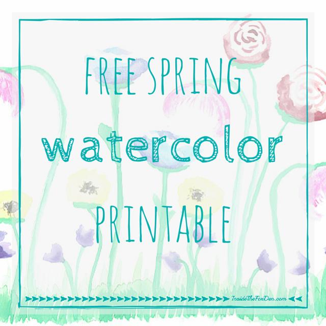 Free Spring Watercolor Printable   Inside the Fox Den