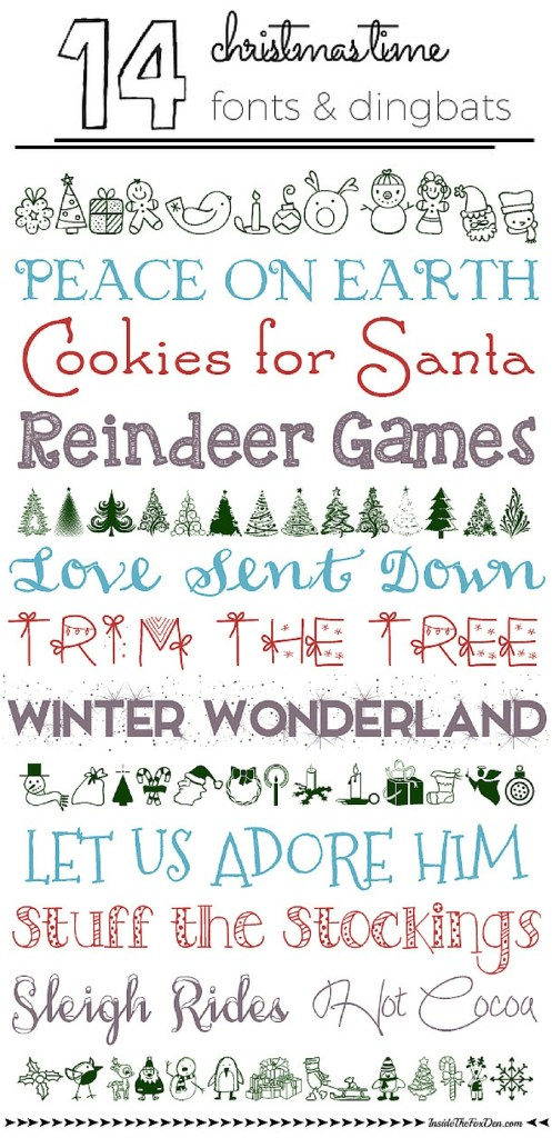 14 Christmas Time Fonts & Dingbats | Inside the Fox Den