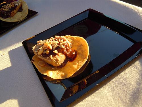 Chicken tostada at La Hacienda de San Angel