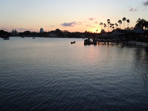 Sunset over World Showcase Lagoon from La Cantina and La Cantina de San Angel