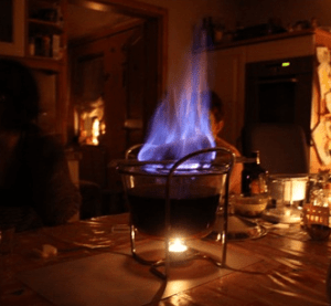 Flaming christmas wine in Dresden, Germany